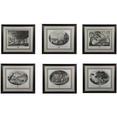 Set of Six Georgian Framed Engravings of Irish Linen Fabrication