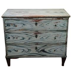 Blue Painted Swedish Chest of Drawers, circa 1850