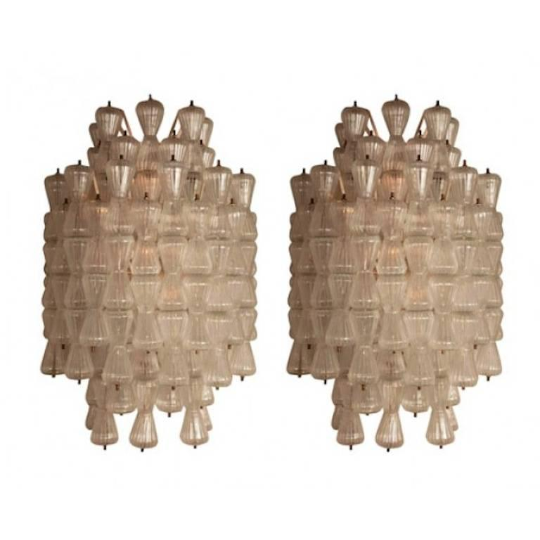 Two Pair of Large Barovier & Toso Glass Sconces, circa 1970