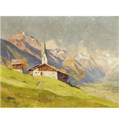 'Chapel Near Bichlbach, Austria' by Munich School Artist Hans Maurus
