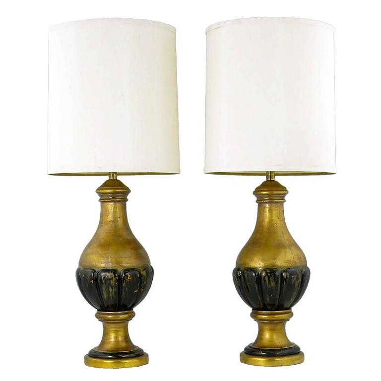 Pair of Marbro Giltwood and Gesso Neoclassical Table Lamps