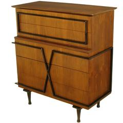 American of Martinsville Custom Walnut X-Front Tall Chest