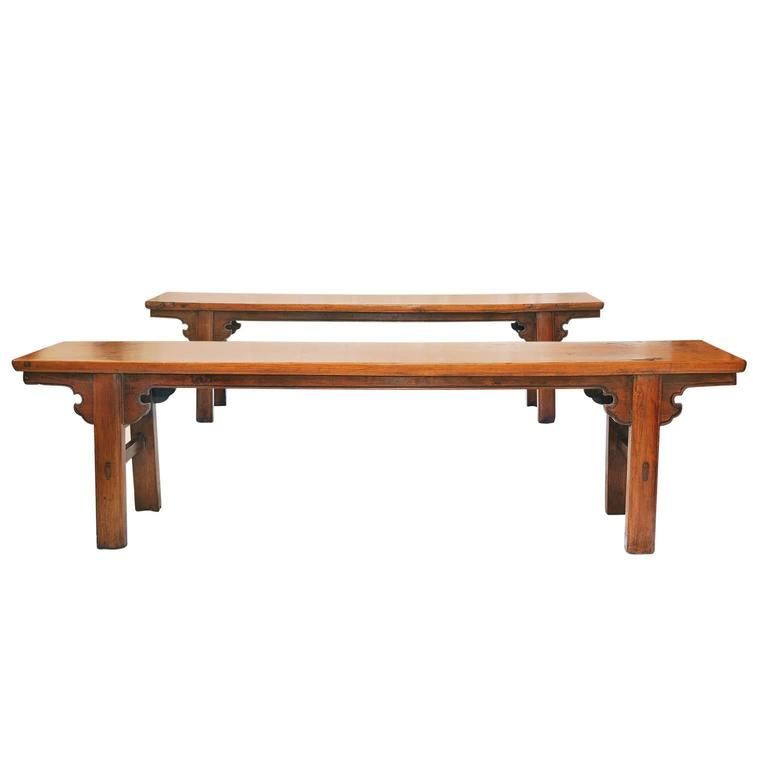 Pair of 19th Century Provincial Chinese Elm Benches, circa 1820