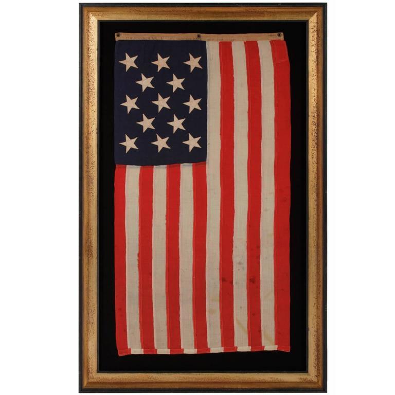 13 Star, Small Boat Ensign Flag Made at the Brooklyn Navy Yard, New York