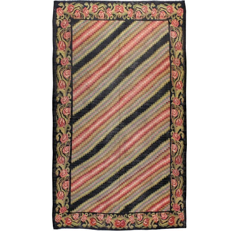 Vintage Turkish Flat Weave Rug: Vintage Turkish Bessarabian Kilim Flat-Weave Rug For Sale