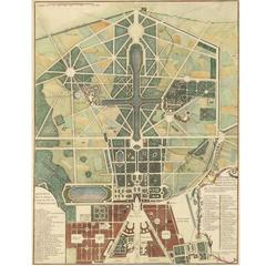 Engraving of Versailles and Gardens, 1738