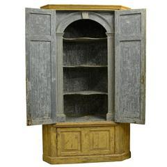 Georgian Painted Standing Corner Cupboard, English, circa 1740
