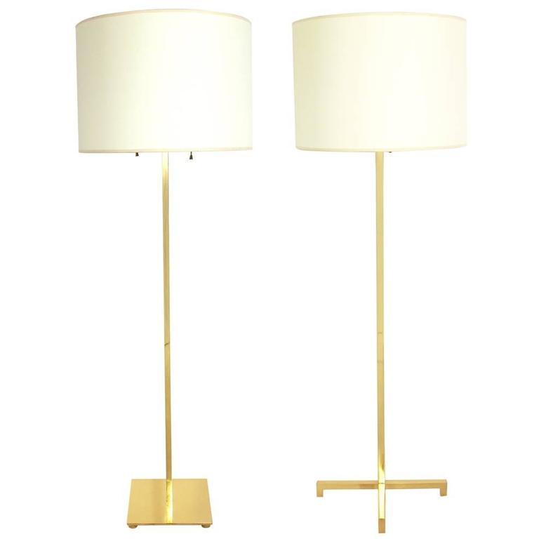 Two Brass Floor Lamps by T.H. Robsjohn-Gibbings & Stewart Ross James for Hansen