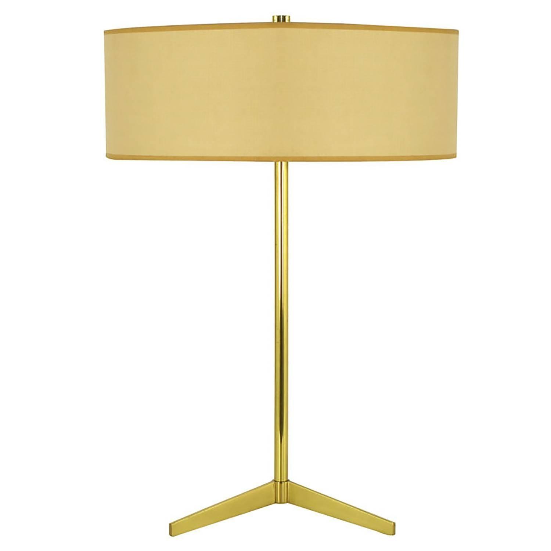 Lightolier Elegant Modern Brass Tripod Base Table Lamp