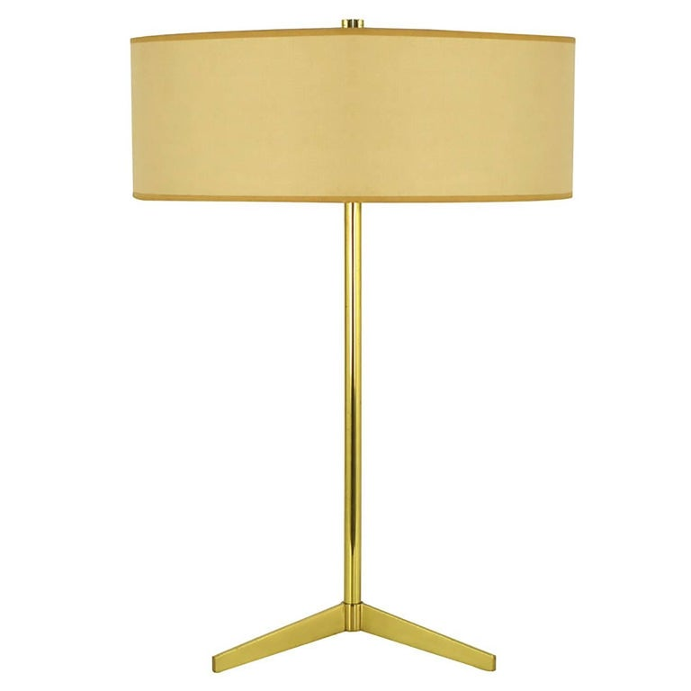 Lightolier Elegant Modern Brass Tripod Base Table Lamp For Sale