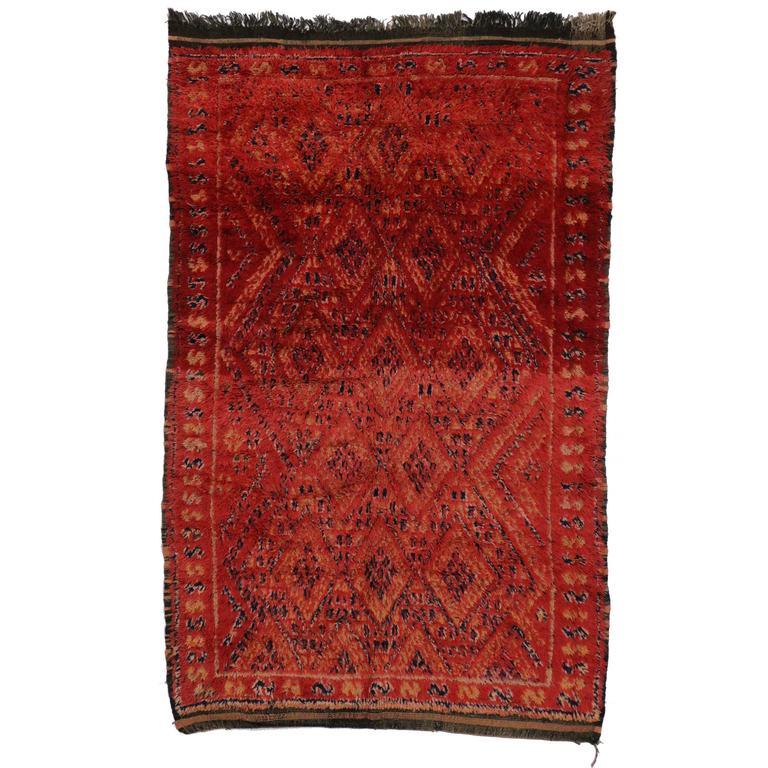 Mid Century Modern Style Red Berber Moroccan Rug With: Berber Moroccan Rug With Tribal Design And Mid-Century