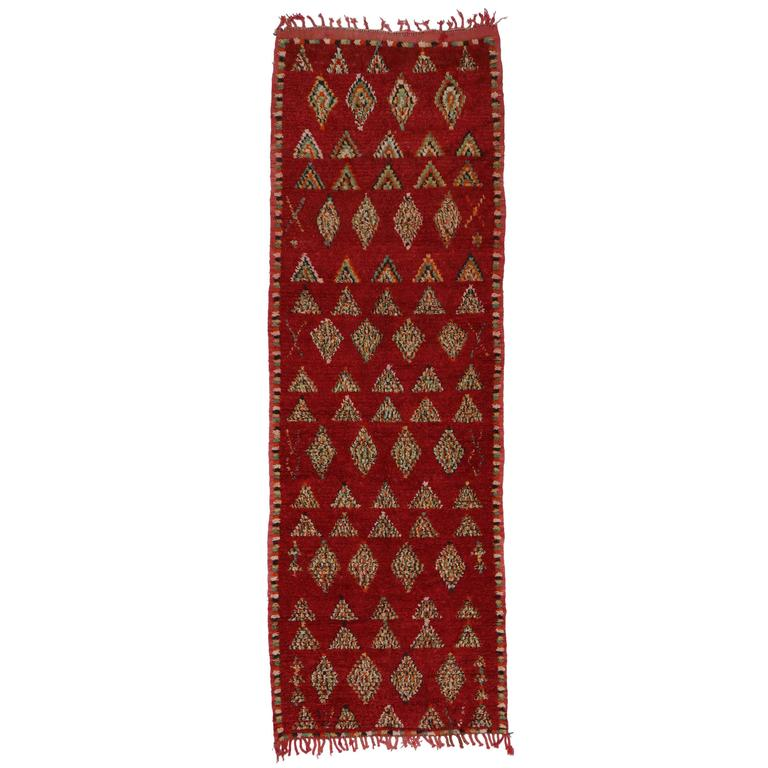 Berber Moroccan Carpet Runner with Tribal Design and Mid-Century Modern Style