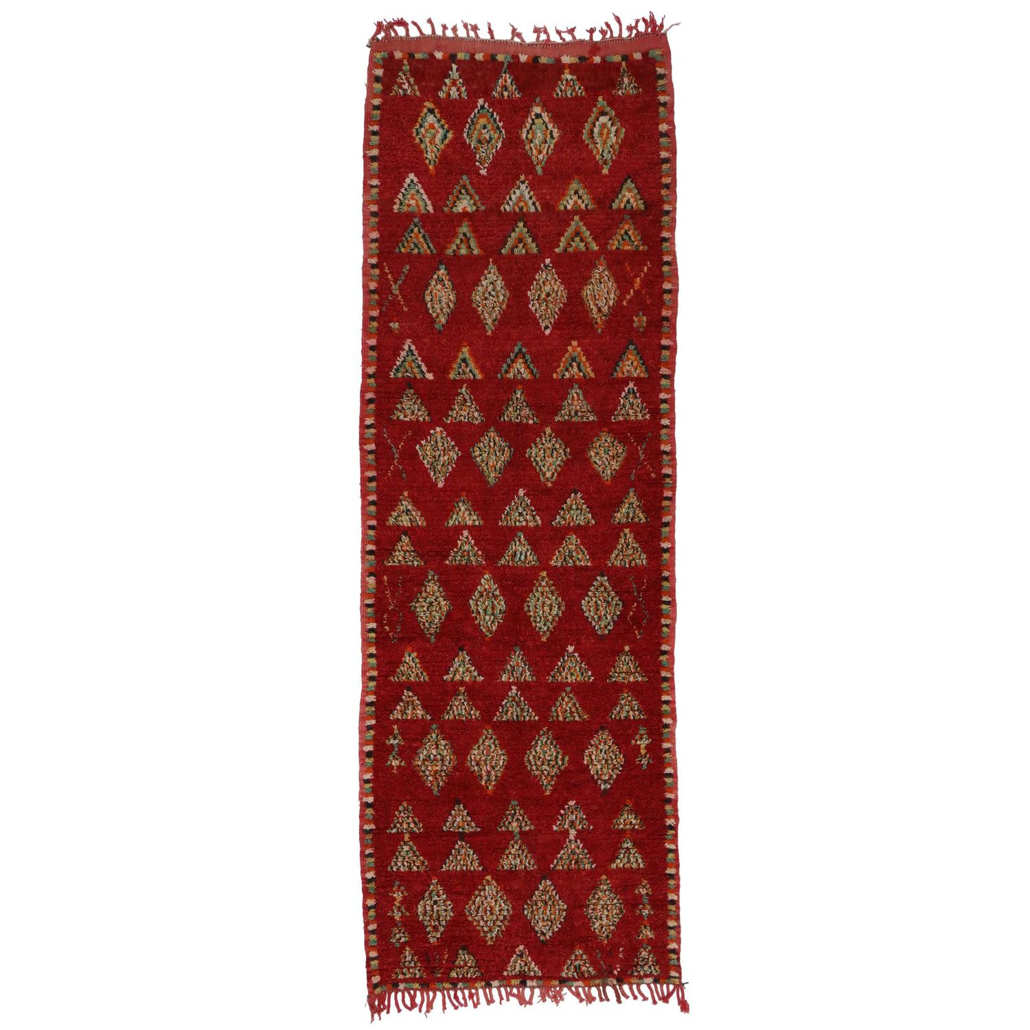 Mid Century Modern Style Red Berber Moroccan Rug With: Berber Moroccan Carpet Runner With Tribal Design And Mid