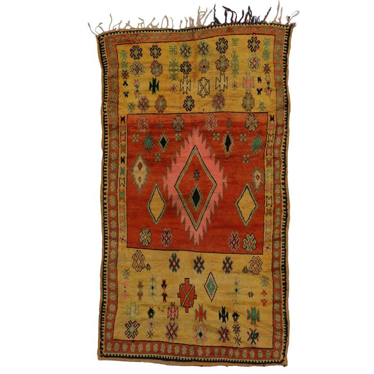 Mid Century Modern Style Red Berber Moroccan Rug With: Mid-Century Modern Style Berber Moroccan Rug With Abstract