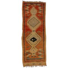 Mid-Century Modern Vintage Berber Moroccan Runner with Tribal Design