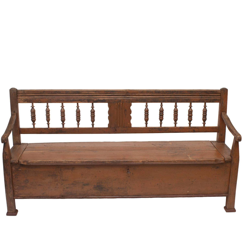 Pine And Oak Box Bench At 1stdibs
