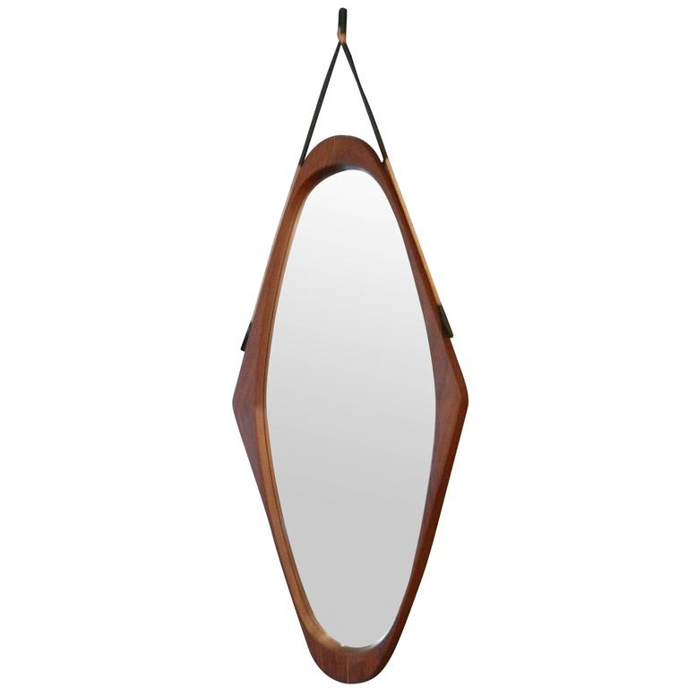 Italian Teak Mirror For Sale