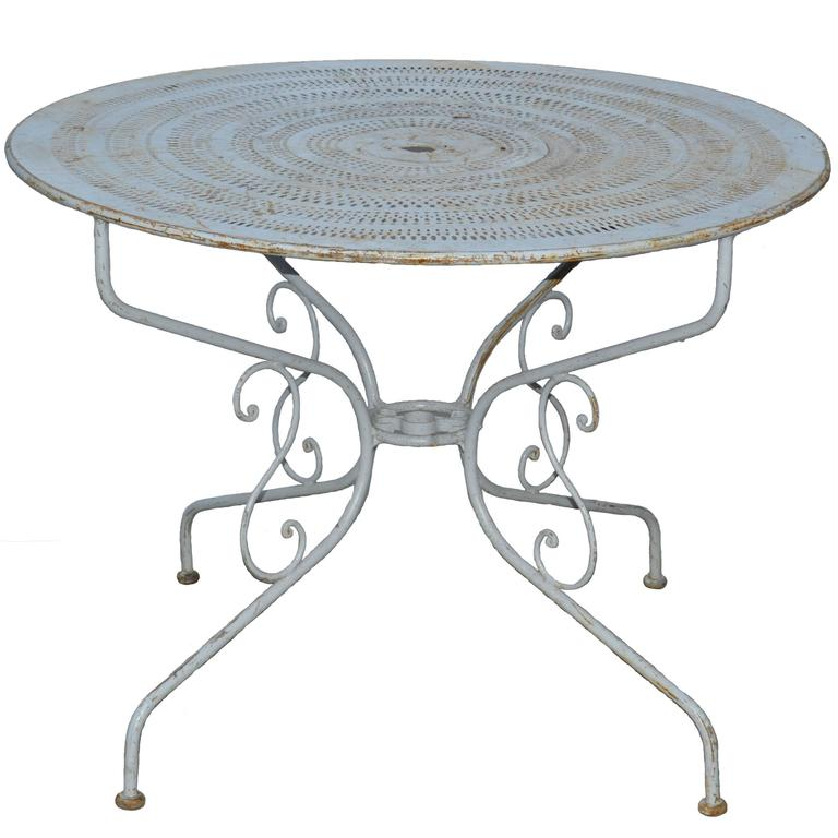 French Mid Century Iron Bistro Table Pierced Top Beautiful Blue Paint At 1stdibs