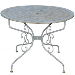 French Mid-Century Iron Bistro Table Pierced Top, Beautiful Blue Paint