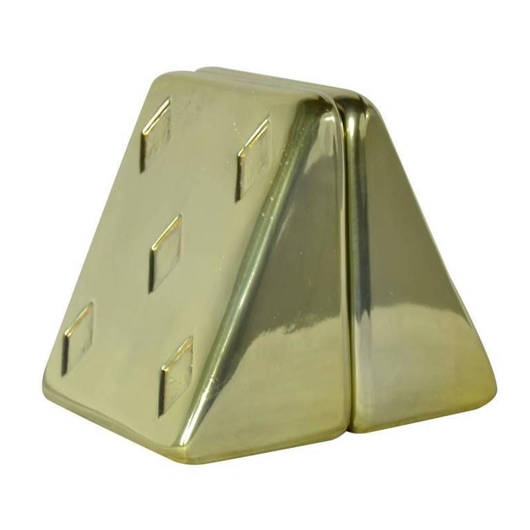 "Ben Seibel ""Five of Diamonds"" Brass Bookends"