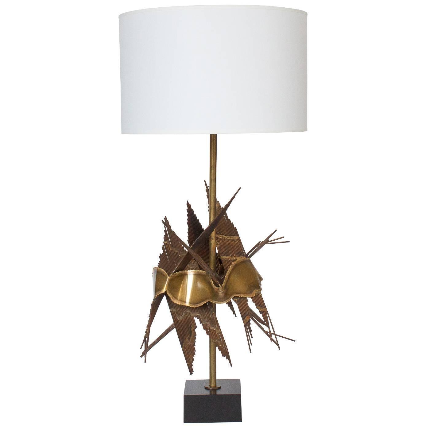 Tom Greene Brutalist Metal Table Lamp at 1stdibs