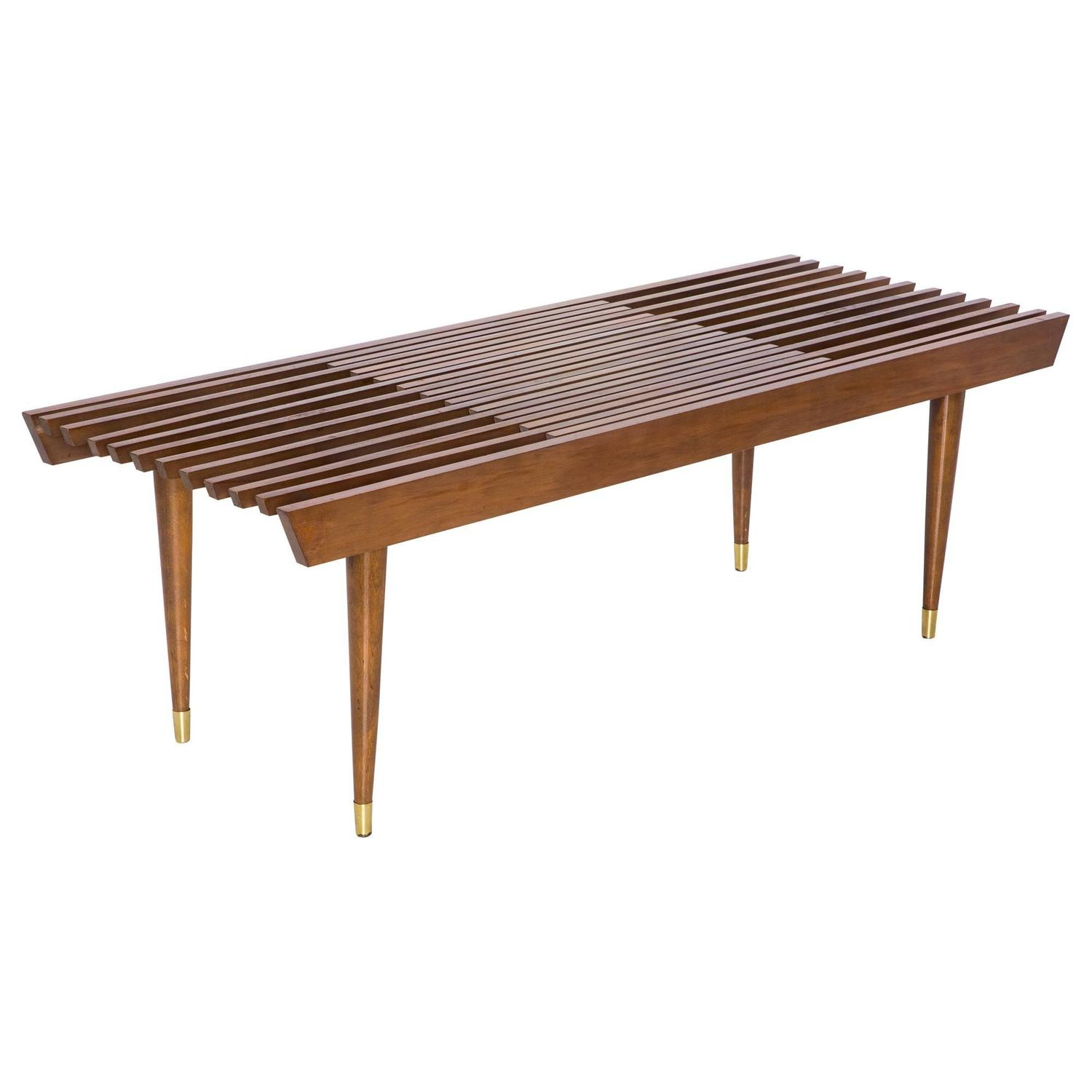 Expandable Slatted Mid Century Modern Wood Bench At 1stdibs