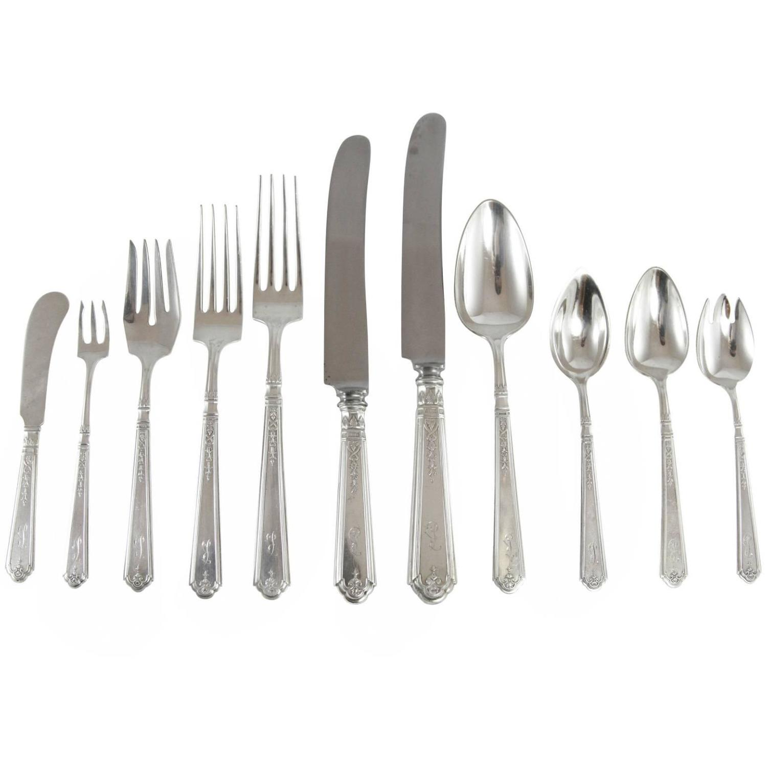 20th Century u0027Princess Patriciau0027 Sterling Silver Flatware Set by Gorham For Sale at 1stdibs  sc 1 st  1stDibs & 20th Century u0027Princess Patriciau0027 Sterling Silver Flatware Set by ...