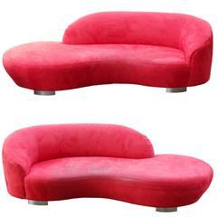 Pair of Vladimir Kagan Red Ultrasuede 'Cloud' Sofas