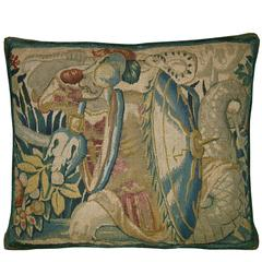 Antique Brussels Baroque Tapestry Pillow ca 17th century