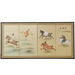 Japanese Equestrian Byobu Screen