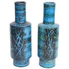 RARE PAIR OF BLUE BITOSSI VASES BY ALDO LONDI FOR RAYMOR, ITALY, 1960s
