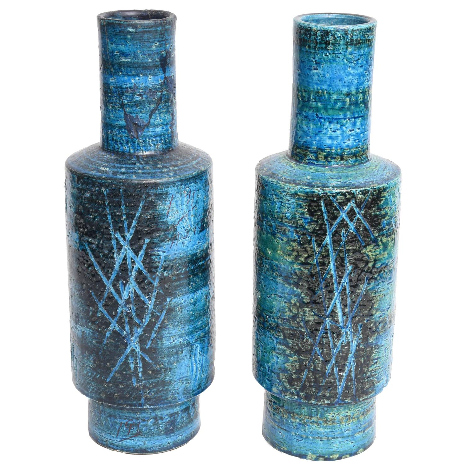 Pair of brass vases by revell ware 1960s stamped for sale at 1stdibs rare pair of blue bitossi vases by aldo londi for raymor italy 1960s reviewsmspy