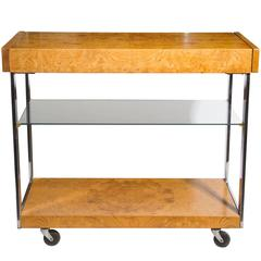Milo Baughman Burled Olive Wood Serving Cart
