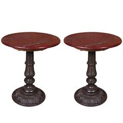 Carlyle Hotel Ox Blood Marble Cafe Table Pair