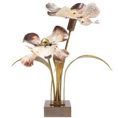 Willy Daro Bronze and Brass Capiz Shell Lamp, circa 1965