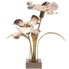 Willy Daro Bronze and Brass Capiz Shell Lamp, circa 1965