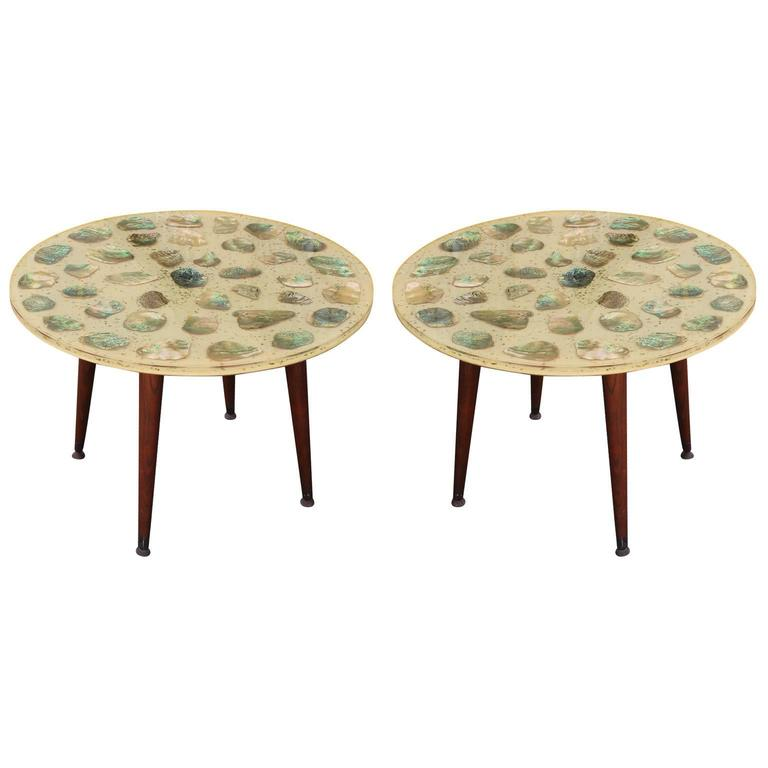 Unusual Pair Of Resin And Abalone Round Side Tables At 1stdibs