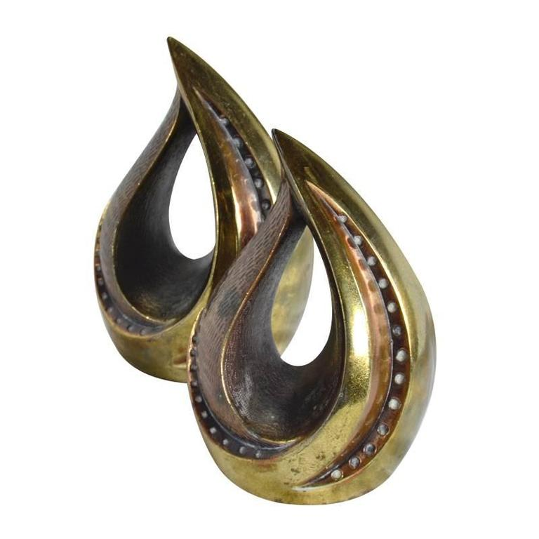 """Pair of Patinated Brass """"Flame"""" Bookends by Ben Seibel for Jenfred Ware"""