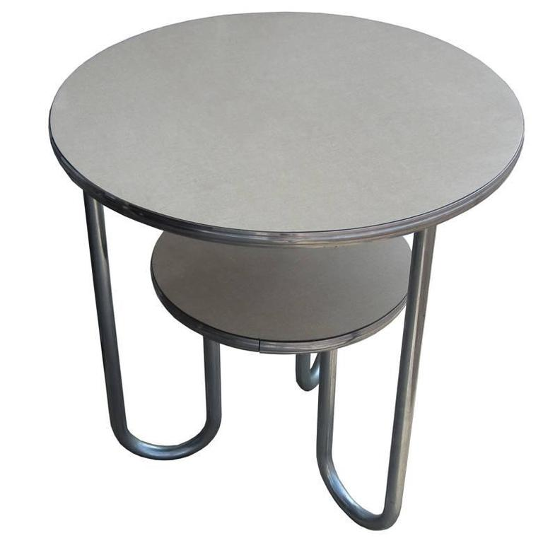 Wolfgang Hoffmann For Royal Chrome Art Deco Tiered Side Table