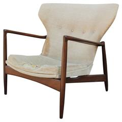 Rare Sculptural Wingback Lounge Chair by Ib Kofod-Larsen