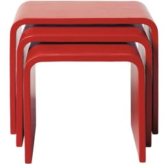Set of Waterfall Red Lacquer Nesting Table by Robert Kuo, Limited Edition
