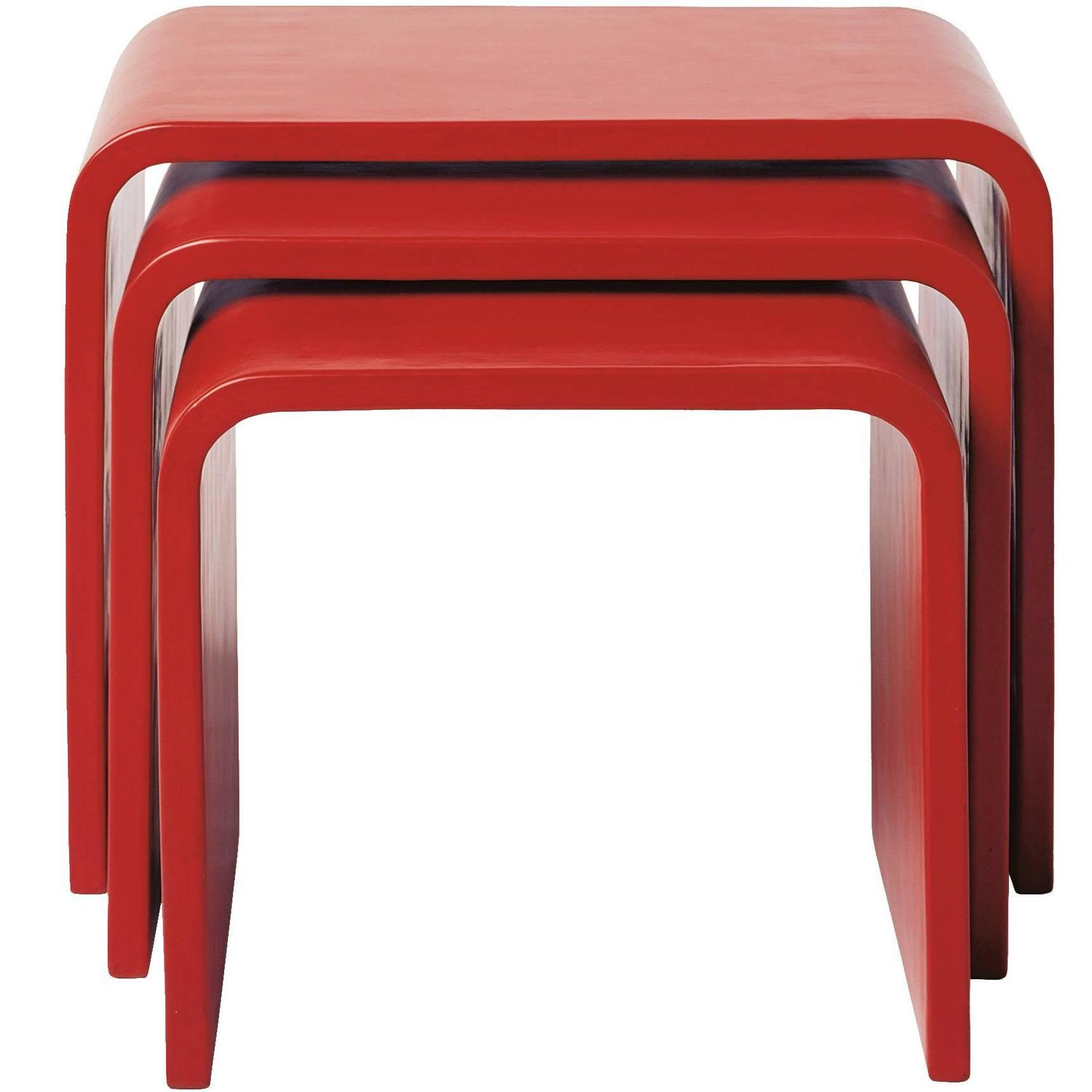 Set Of Waterfall Red Lacquer Nesting Table By Robert Kuo, Limited Edition  For Sale At 1stdibs