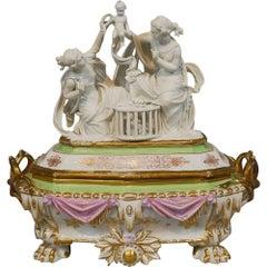 Old Paris Porcelain Jewelry Box Casket Bisque Parian Sculpture Rare