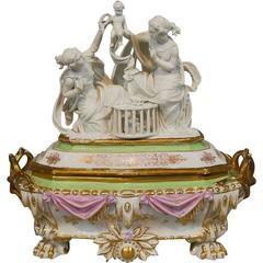Unique Antique Old Paris Porcelain Jewelry Box Casket Parian Sculpture