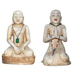 Pair of Antique Southeast Asian marble monk