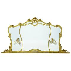 Large Early 20th Century Rococo Influenced Gilt over Mantle Mirror