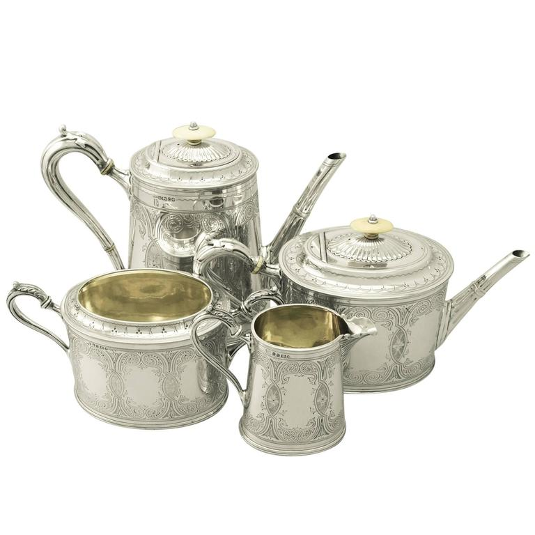 Sterling Silver Four Piece Tea and Coffee Service - Antique Victorian