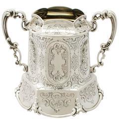 Sterling Silver Sugar Bowl, Antique Victorian