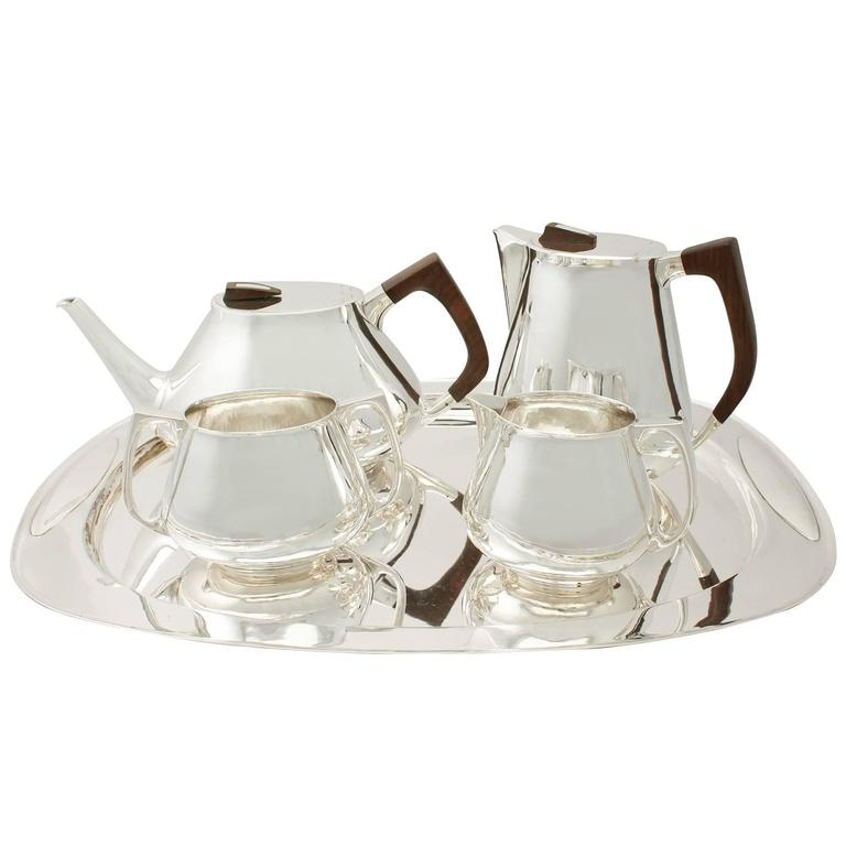 Sterling Silver Four Piece Tea & Coffee Service with Tray, Design Style, Vintage