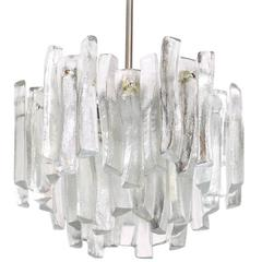 Kalmar Chandelier with Massive Iceglass Parts, Austria, 1970s, Frosted Glass